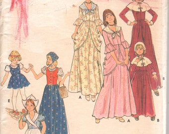 1970s Butterick 4206 Childs Pilgrim Dutch Girl Colonial Costume Pattern Girls Vintage Sewing Pattern Size 12 Breast 30 OR Size 8 B 27 UNCUT