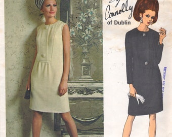 Vogue 1876 1960s  Sybil Connolly Misses Slim Dress Pattern Couturier Womens Vintage  Sewing Pattern Size 12 Bust  34