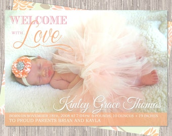 Peach & Pink Birth Announcement - baby girl birth announcement - peach - welcome with love - printed or printable