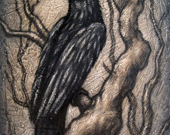 Black Bird XViii signed and matted print from an original painting by Eden Bachelder