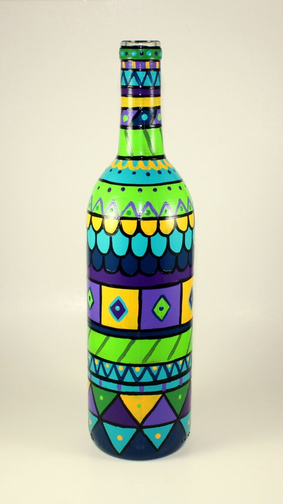 hand painted bottle light functional art re claimed bottle