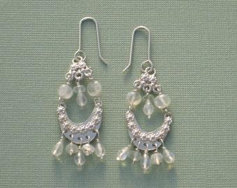 Moonstone Chandelier Earrings Silver Gem Dangles Long Earrings Moonstone Gemstone Earrings Sterling Silver Under 50 dollars Artisan Handmade