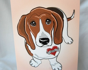 Bassett Hound Tattoo Greeting Card