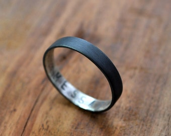Women's Oxidized Secret Message Ring. Custom Stamped Sterling Silver Wedding Band. Personalized. 3.7mm. Wedding Ring. Flat Ring. Black. Grey