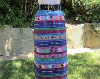Rockin' It Vintage Maxi Skirt Boho Ethnic 1960's Colorful, Beautiful, Belted, With Buttons Down The Front