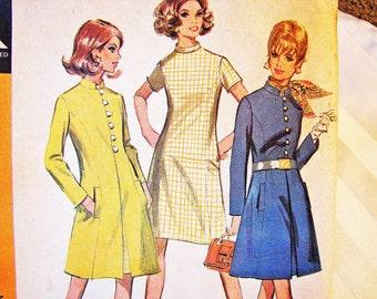 1960s Dress Pattern Misses size 12 UNCUT Princess Seam A line Coat Pattern with A line Dress Vintage Sewing Pattern 60s