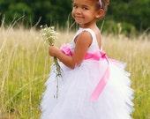 Full Length Flower Girl Dress - Toddler White Dresses - Little Girl - Wedding - Boutique Dress -  Custom Colors Available - 2T to 8 Years