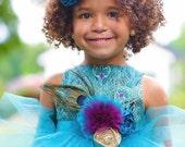 Peacock Wedding - Flower Girl Dresses - Custom Flower Girl Dress - Flower Girl Dresses - Flower Girl Tulle Dress - Sizes 2T to 8 Years
