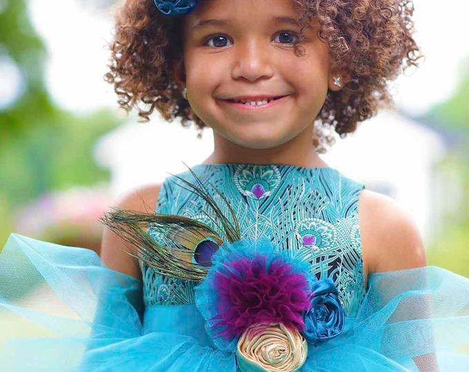 Peacock Flower Girl Dress - Toddler Flower Girl - Boutique Girl Dresses - Custom Dress - Full Length Dress - Wedding - Sizes 2T to 8 Years
