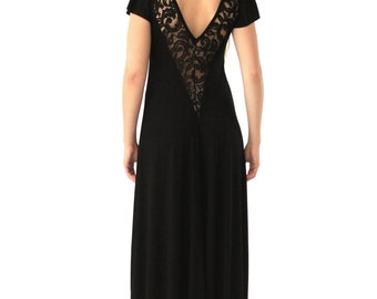 SALE***Black maxi dress// Deep Lace V-Back// S.M.L