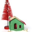 Vintage Green and Red Christmas Putz House