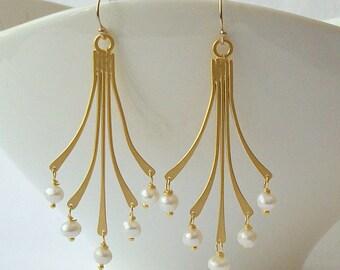 Pearl Gold Chandelier Earrings