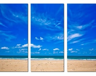 Fort Pierce Florida Beach & Sky Canvas Triptych, 3 Panel Fine Art, LARGE, Ready to Hang