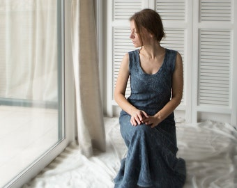 SALE Christmas in July Blue grey dress Silk dress Merino wool dress Nuno felted silk and wool Romantic fashion Ready to ship maxi dress