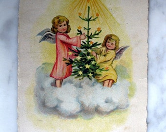 Antique Christmas Postcard. Little Angels. 1920