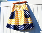 Chevron A-Line Skirt, Navy Blue and Yellow, Apron pockets, Navy with white Dots, Yellow and White Chevron, Hip size's 30-56 inches