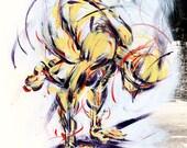 Yoga Art -- Acrylic Painting, Crow Pose