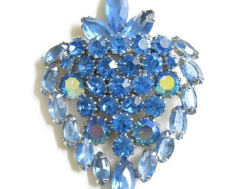 Vintage JULIANA, D&E Verified Blue Rhinestones and Aurora Borealis Stylized Strawberry Brooch or Pin