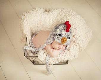 Rooster Hat Newborn 0 3m  Fuzzy Chick Chicken Easter Baby Crochet Soft Photo Prop Baby Chick Boy Girl Gift Gender Neutral CUTE