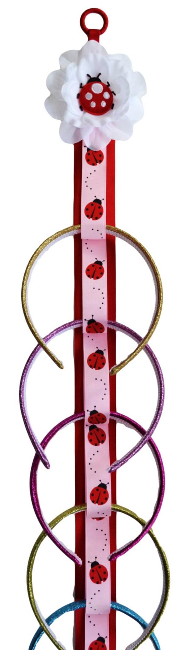 Hanging Wall Decor With Ribbon : Ladybug ribbon wall hanging headband holder girls room decor