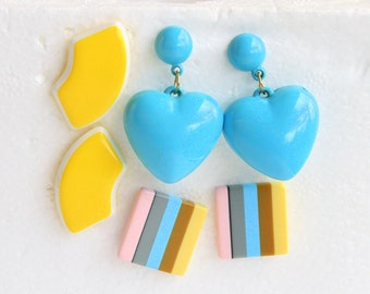 1980s Colorful Pierced Earrings LOT 3 Pair Vintage Bright Yellow Half Moon Blue Hearts Striped
