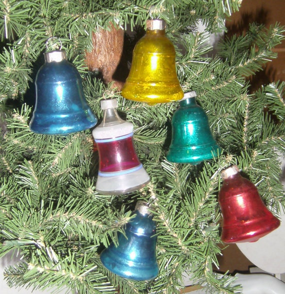 Vintage glass bell ornaments set of christmas