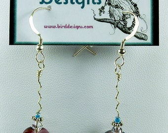 BirdDesigns Handmade Lampwork Earrings - ooak - J577