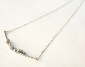 Silver Bar Necklace - Curved Bar Necklace - Wire Wrapped Necklace - Pearl Labradorite Jewelry - Gift For Her - Gift Under 40