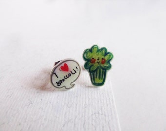 Broccoli earrings stud, veg kawaii jewel