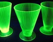 Tiffin Crystal Green Glass Juice Tumbler Adams Rib Footed Vertical Lines Extremely Rare