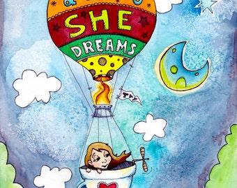 Children's Watercolor Illustration - Hot Air Balloon Print