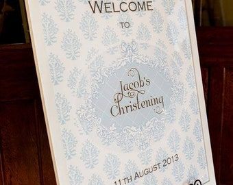 FRILLY DAMASK BAPTISM Printable 23x33 Welcome Sign - you print