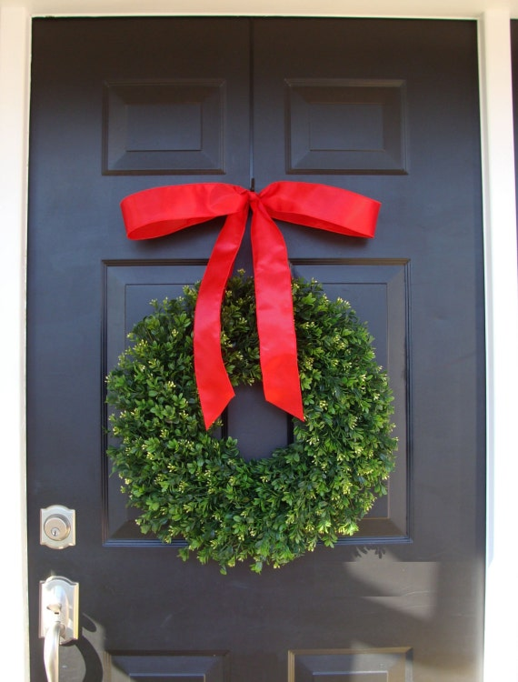 Realistic Artificial Boxwood Christmas Wreath- Outdoor Christmas Decor- Holiday Wedding Wreath- Wedding Decor- 14-24 inches available