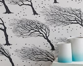 Northeasterly Wallpaper, Wind-swept Trees Wallpaper, Windy Trees Wallpaper, Leaves Wallpaper, Leaves in the Wind Wallpaper, Trees Wallpaper
