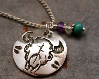 Gemstone and Buffalo Skull Necklace