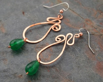 Hand Forged copper and Green agate Earrings