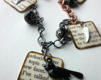 Book page necklace charm necklace, literary necklace, book jewelry, paper bead, Asylum for the queen