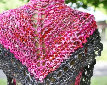 Sweetheart Shawl Merino Hand Knitted/ Wearable Art Triangle Shawl