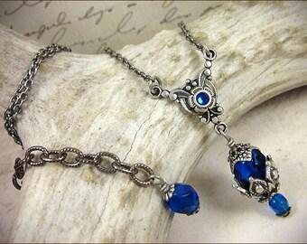Blue Medieval Necklace, Bridesmaid Necklace, Renaissance Wedding, Tudor Costume, Medieval Wedding, Ren Faire, Bridal Necklace, Rhiannon