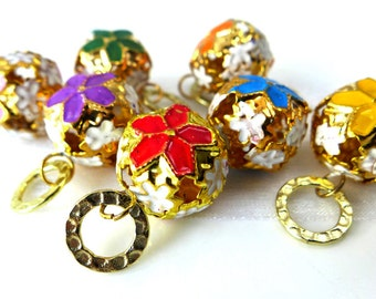 The Legend of the Poinsettia - Seven Handmade Stitch Markers - 6.5 mm (10.5 US) - Limited Edition