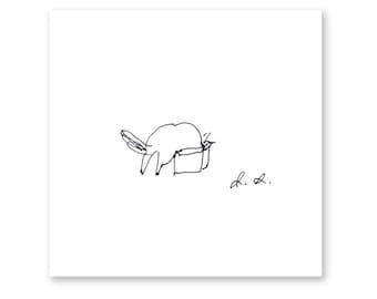 Cat in Box - Ink Drawing - Cat Print - Funny Cat Art