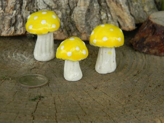 Ceramic Garden mushroom miniatures 3  ooak  Toadstools   Poison  terrarium sunshine fruit lemon yellow Fairy garden decor