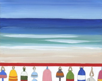 Beach and Lobster Buoys PRINT of an Original Acrylic Painting