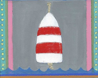 White and Red Buoy PRINT of an Original Mixed Media Painting