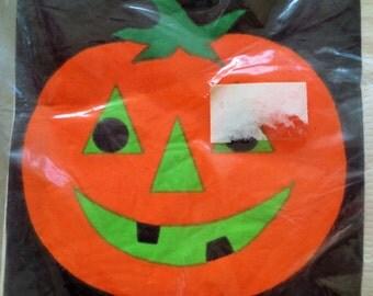 Vintage Napkins, Halloween Napkins, Pumpkin Napkins, Paper Napkins, Party Supply, Orange Pumpkin, New Old Stock, Halloween Serviettes