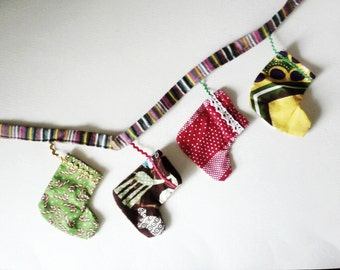 Mini Christmas Stocking Banner, Holiday Mantel Decor