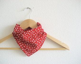 Bandana Bib for Baby in Red Polka Dot