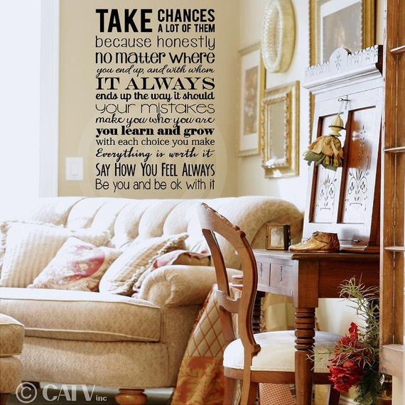 Take Chances a lot of them... vinyl lettering wall decal sticker