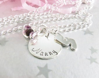 Hand Stamped Jewelry for Nanny. Sterling Silver Personalized Grandmother Necklace with Baby Feet Charm and Swarovski Crystal Birthstones.