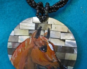Quarter horse handpainted necklace sorral